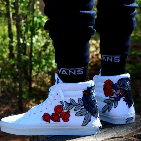 Custom Wolf Rose Embroidered Vans Sneakers aade3e4b4